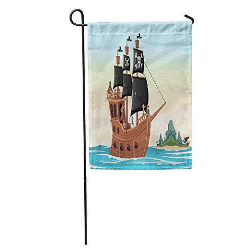 Semtomn Garden Flag Colorful Group of Cartoon Pirates on Ship at The Sea Home Yard House Decor Barnner Outdoor Stand 28x40 Inches Flag]()