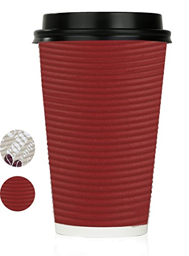 Disposable Hot Coffee Insulated Cups By Golden Spoon - 50 Pack Set Complete With Lids - Stylish Contemporary Ripple Design - Perfect For Take Away Coffee Shops And Bars (16 oz, Red)