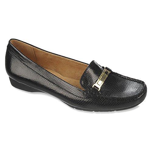 Naturalizer Women's Gadget Slip-On Loafer Black Printed Iguana