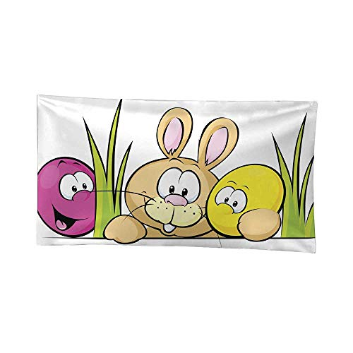 Nicely Mandela Tapestries Bunny Peeking from Behind The Desk with Cute Eggs Third Eye Tapestries 60W x 51L Inch