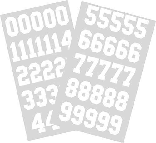 Sports Helmet Numbers 1.25' By Chalkallaboutit Baseball, Hockey, Football and Lacrosse (white)