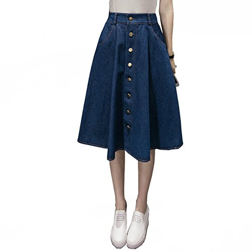 Jean Skirt Knee Length (Women's Button Front Blue Denim A-Line Knee Length Skirt(Skirt Length:23.6 inch Waist:22 inch~29 inch Hips:50 inch ))