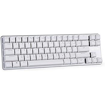 Mechanical Keyboard Wired Keyboard Blue Switch 68-Keys Mini Design (60%) Gaming Keyboard White Silver by Magicforce Qisan