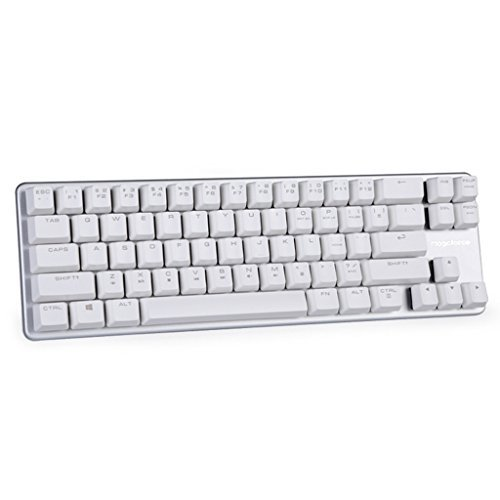 Mechanical Keyboard Wired Keyboard Blue Switch 68-Keys Mini Design (60%) Gaming Keyboard White Silver by Magicforce Qisan