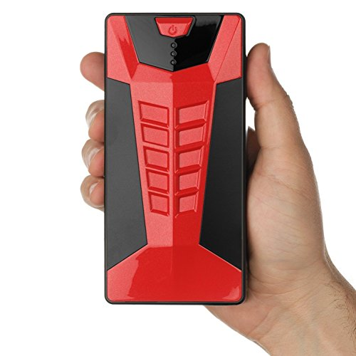 Brightech - SCORPION Portable Car Battery Jump Starter with SmartJump Technology - Combination Handheld Jump Box and Battery Charger for Electronics and Mobile Devices with Carrying Case - Crimson Red