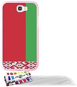 """Carcasa Flexible Ultra-Slim SAMSUNG GALAXY NOTE 2 / N7100 de exclusivo motivo [Bielorrusia Bandera] [Rosa] de MUZZANO  + 3 Pelliculas de Pantalla """"UltraClear"""" + ESTILETE y PAÑO MUZZANO REGALADOS - La Protección Antigolpes ULTIMA, ELEGANTE Y DURADERA para su SAMSUNG GALAXY NOTE 2 / N7100"""
