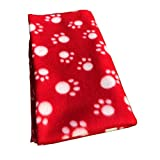 Joe's Home Pet Puppy Dog Blanket for Small Medium Large Dogs, 4 Pack - Red Blue Black Brown, Warm Soft Cozy Cat Dog Blankets and Throws Winter Pet Sleep Mat Pad Bed Cover with Paw Print