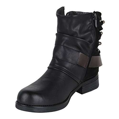 Stiefelparadies Damen Stiefeletten Metallic Biker Boots Leicht Gefütterte Stiefel Block Absatz Booties Schnallen Schuhe Damenschuhe Flandell Schwarz Glitzer