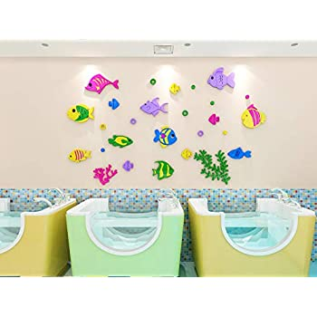 KINBEDY Acrylic 3D Colorful Fishes Wall Stickers Wall Decal Easy to Install &Apply DIY Decor Sticker Home Art Decor.