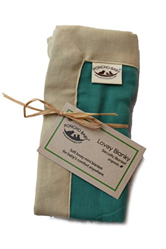 Poncho Baby Organic Security Blanket, Lovey Blanky, Emerald/