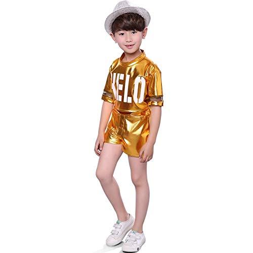 Cheer Visor (children's festival chorus girls dress costumes cheerleading kindergarten boys girls hip-hop jazz dance performance clothing (gold - men (without hat))