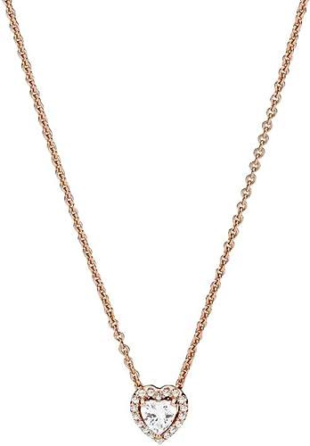 Pandora Collier avec pendentif cœur en alliage plaqué or rose 14 carats 45  cm
