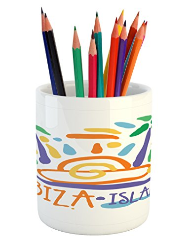 Lunarable Ibiza Pencil Pen Holder, Tropical Island Doodle with Summer Season Foliage and Palm Trees South Spain Europe, Printed Ceramic Pencil Pen Holder for Desk Office Accessory, Multicolor by Lunarable