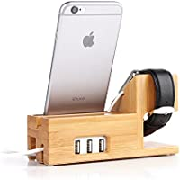 Apple Watch and iphone Charging Station Bamboo Wood...