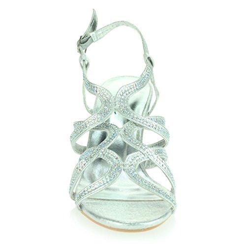 Mujer Señoras Diamante Decorado Enjaulado Correa Tacón Medio Noche Fiesta Boda Prom Nupcial Sandalias Zapatos Talla Plata