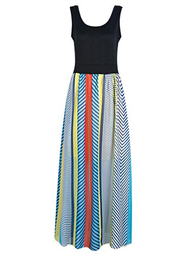 Choies Womens Length Stripe Sleeveless