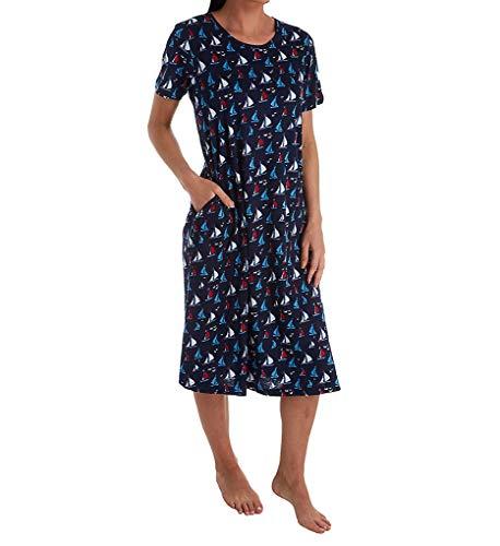 La Cera 100% Cotton Knit Short Sleeve Lounge Dress (2523) XL/Navy/Red