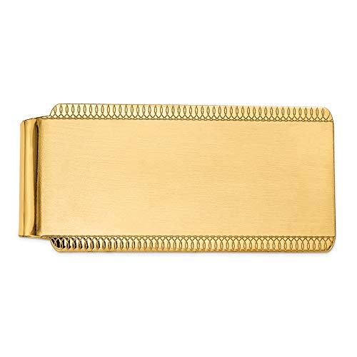 (FB Jewels Solid 14K Yellow Gold Engraveable Sandblast and Edge-Design Money Clip)