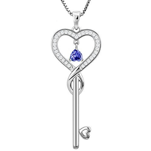 - Birthday Gifts, June Birthstone Good Lucky Heart Key Necklace, Infinity Endless Love Jewelry for Women, Mother & Daughter Necklace, Gifts for mom, sister, grandma, wife, friendship (LightAmethyst)