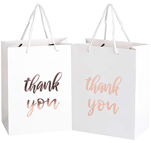 12 Pack Thank You Gift Bags - Elegant Paper Gift Bags with ''Thank You'' Embossed in Rose Gold Foil Letters - Perfect for Birthday Party, Wedding Party, Paper Favor Bags 4