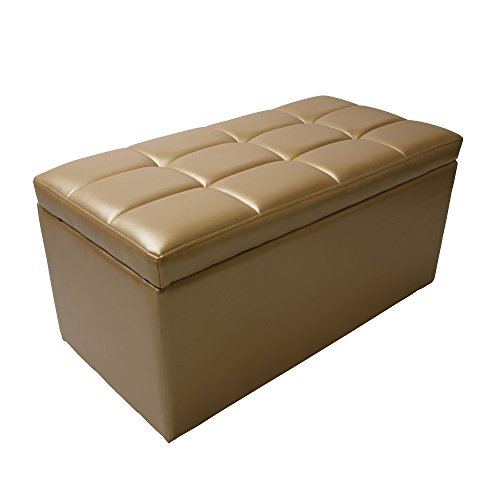 Magshion 2 Sizes-Unfold Leather Storage Ottoman Bench Footstool Cocktail Seat Coffee End Table Rectangle, Gold