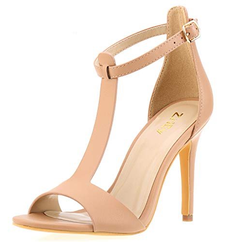 (ZriEy Women's Sexy T-Strap High Heel Sandals Bridal Party Shoes Nude Size)