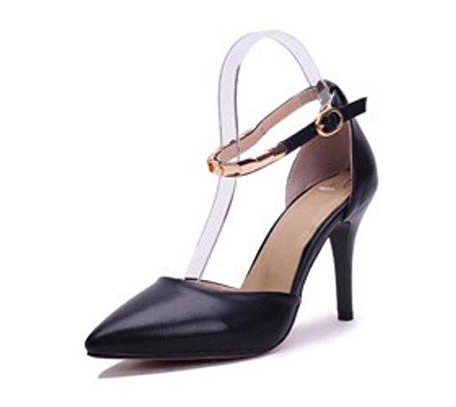 à 37 avec Superficielle Chaussures avec la xie Talon mi Chaussures Bout Pointues de Mot de Sangle Cheville Court Bouche Femmes Une Boucle Minces 4wnABqR