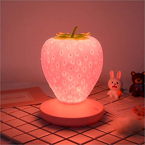 Silicone Night Light, USB Rechargeable Strawberry Night Lamp Eye Caring Desk Lamp for Kids Toddlers Children (Pink)