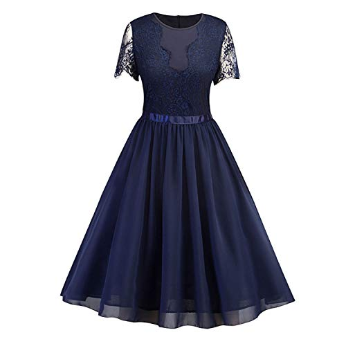Surprisedresshatglasses-Summerdress Summer Chiffon Lace Dress O Neck Short Sleeves Cotton Solid,Navy -