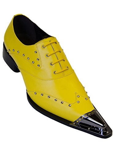 (Zota Men's Leather Metal Tip Casual Dress Lace-Up, Yellow, 8 M US)