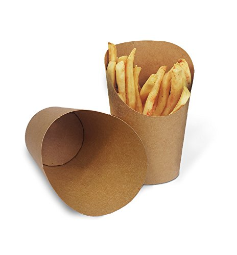 ALDKitchen Eco-Friendly 12oz Food Paper Cone Food Grade Finger Food Cone Creative Cylindrical Food Basket Liners -Kraft Paper, 100pcs Pack ()