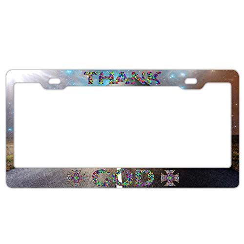 (Colorful Geometry Thank God Road and Galaxy Aluminum License Plate Frame Humor Tag Holder 2 Hole and Screws Size 12 x 6 Inch )