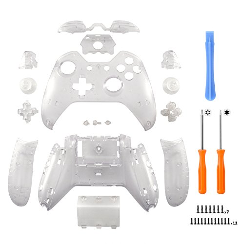 eXtremeRate Matte Transparent Clear Controller Housing Shell Case Cover Full Set Faceplates Replacement Kits with Buttons for Microsoft Xbox One Controller with 3.5 mm Headset Jack (Clear Shell Cover)