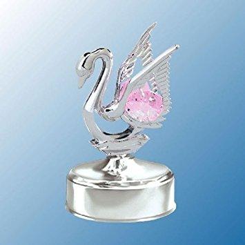 Chrome Mini Swan Music Box - Pink Swarovski Crystal