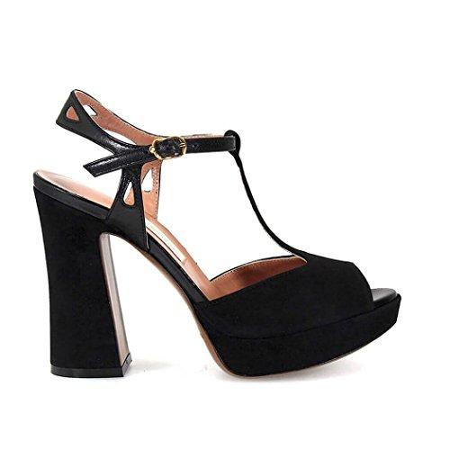 Suède L'Autre LDE02712CPBLACK Femme Noir Chose Sandales TRRqI4