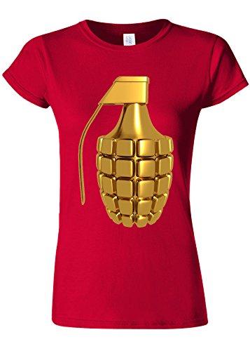 クリケット野望相反するGolden Plated Grenade Soldier Novelty Cherry Red Women T Shirt Top-XXL