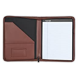 "Samsill Contrast Stitch Leather Padfolio – Lightweight & Stylish Business Portfolio for Men & Women – Resume Portfolio with Wraparound Zipper, 8.5"" x 11"" Writing Pad – Brown/Tan"