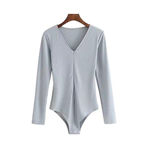 LINNUO Donne Sexy Body Leotard Manica Lunga Bodys Profondo V Tute T Shirt Felpe Top