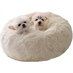 """WonderKathy Modern Soft Plush Round Pet Bed for Cats or Small Dogs, Mini Medium Sized Dog Cat Bed Self Warming Autumn Winter Indoor Snooze Sleeping Cozy Kitty Teddy Kennel (M(23.6""""Dx7.9 H), White)"""