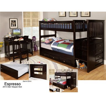 espresso bunk bed with stairs - 5
