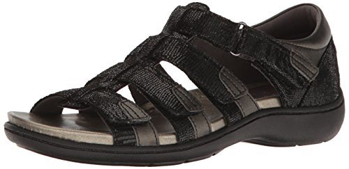 Aravon Women's Bromly Gladiator Sandal, Black, 7 B US by Aravon