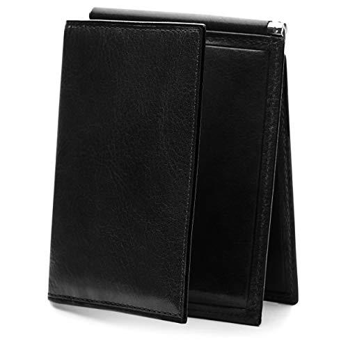 Bosca Men's Leather Money Clip with pocket In Black