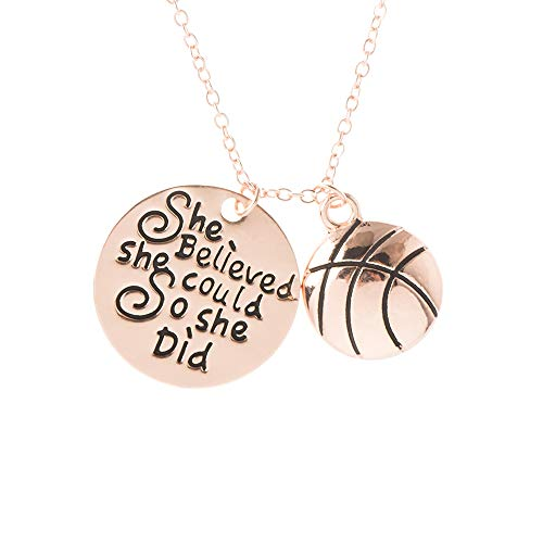 Sportybella Basketball Necklace, Basketball She Believed She Could So She Did Jewelry, Basketball Gifts, Basketball Charm Necklace, for Femalel Basketball Players