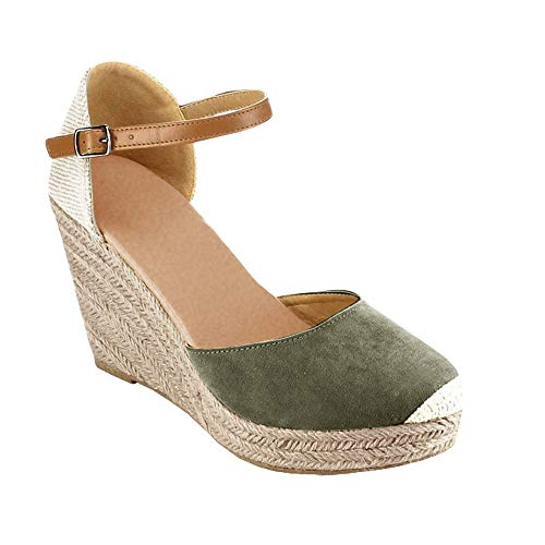 FISACE Womens Summer Espadrille Heel Platform Wedge Sandals Ankle Buckle Strap Closed Toe Shoes (8 M US, Green)