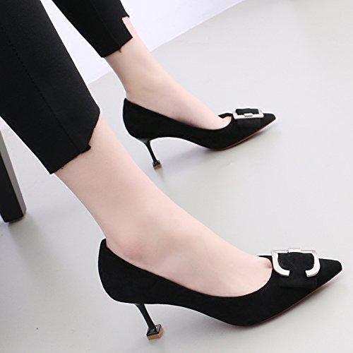 Wild Heeled ra1Wz7r6 Black Shoes Cat High Tip 38 KPHY With Satin Tie Single Female LPP 7Cm Shoes Fine Light Buckle With Bow SqgPZ