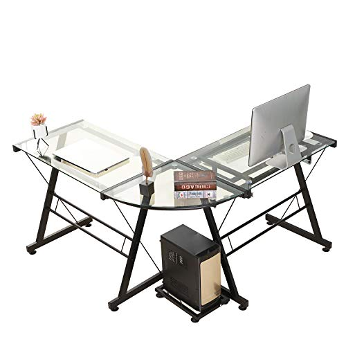 Soges L-Shaped Corner Computer Desk with Host Stand, Tempere
