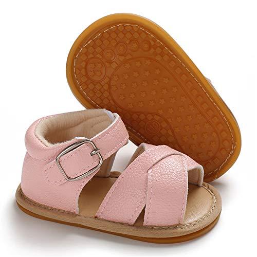 Meckior Baby Toddler Infant Girls PU Leather Soft Closed Toe Summer Sandals Flower Princess Flat Shoes (0-6 Months M US Infant, D-Pink) (Sandals Leather Infant)