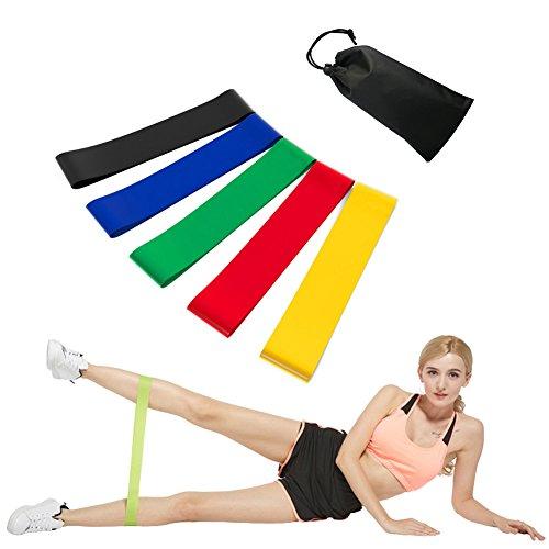 Bandes de résistance ANGTUO Bandes d'exercice en latex naturel Cinq niveaux d'élasticité pour le yoga, l'haltérophilie et la physiothérapie - Mobilité extensible pour hommes et femmes