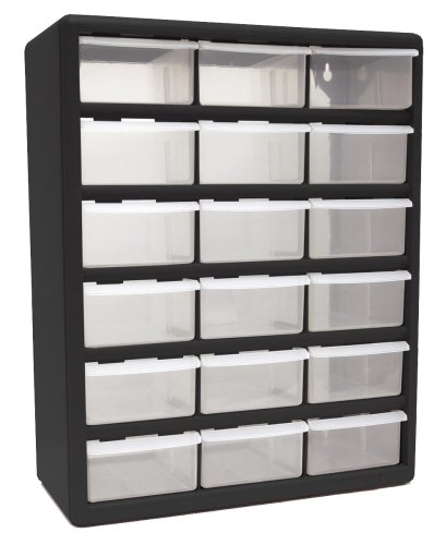 Homak 18-Drawer Parts Organizer, Black, HA01018001