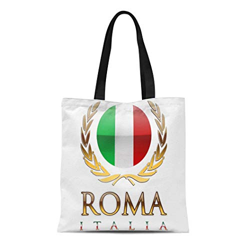 Semtomn Cotton Line Canvas Tote Bag Made Rome Usa Italy Roma Italia Bandiera Italiana Lazio Reusable Handbag Shoulder Grocery Shopping Bags